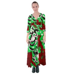 Plants And Flowers 1 1 Button Up Maxi Dress