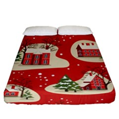 Christmas New Year Seamless Pattern Fitted Sheet (queen Size)