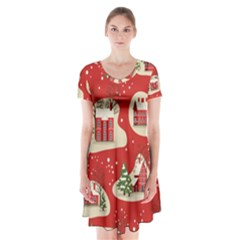 Christmas New Year Seamless Pattern Short Sleeve V Neck Flare Dress