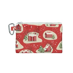 Christmas New Year Seamless Pattern Canvas Cosmetic Bag (small)