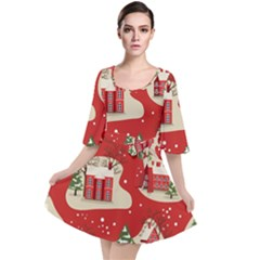 Christmas New Year Seamless Pattern Velour Kimono Dress