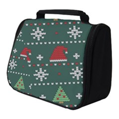 Beautiful Knitted Christmas Pattern Full Print Travel Pouch (small)