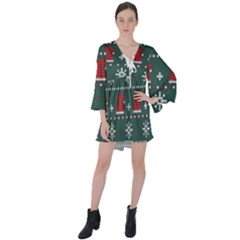 Beautiful Knitted Christmas Pattern V Neck Flare Sleeve Mini Dress