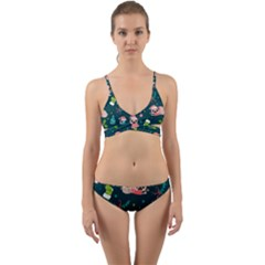 Pattern Christmas Funny Wrap Around Bikini Set