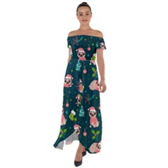Pattern Christmas Funny Off Shoulder Open Front Chiffon Dress