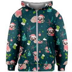 Pattern Christmas Funny Kids  Zipper Hoodie Without Drawstring