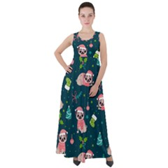 Pattern Christmas Funny Empire Waist Velour Maxi Dress