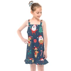 Funny Christmas Pattern Kids  Overall Dress