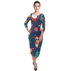 Funny Christmas Pattern Quarter Sleeve Midi Velour Bodycon Dress