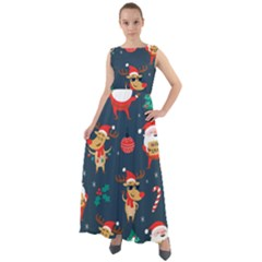 Funny Christmas Pattern Chiffon Mesh Boho Maxi Dress