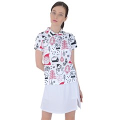 Christmas Themed Seamless Pattern Women s Polo Tee