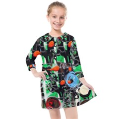 Dots And Stripes 1 1 Kids  Quarter Sleeve Shirt Dress by bestdesignintheworld