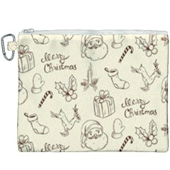 Vintage Christmas Pattern Canvas Cosmetic Bag (xxxl)