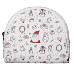 Cute Christmas Doodles Seamless Pattern Horseshoe Style Canvas Pouch by Vaneshart
