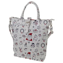 Cute Christmas Doodles Seamless Pattern Buckle Top Tote Bag