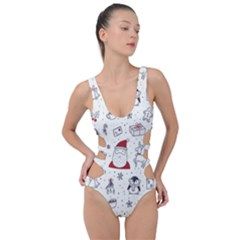 Cute Christmas Doodles Seamless Pattern Side Cut Out Swimsuit