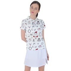 Cute Christmas Doodles Seamless Pattern Women s Polo Tee