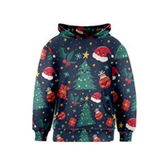 Colorful Funny Christmas Pattern Kids  Pullover Hoodie