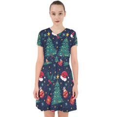 Colorful Funny Christmas Pattern Adorable In Chiffon Dress
