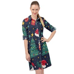Colorful Funny Christmas Pattern Long Sleeve Mini Shirt Dress
