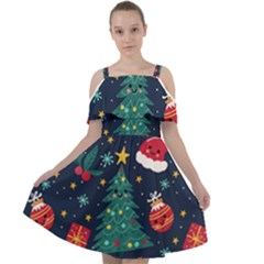 Colorful Funny Christmas Pattern Cut Out Shoulders Chiffon Dress