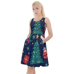 Colorful Funny Christmas Pattern Knee Length Skater Dress With Pockets