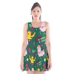 Funny Decoration Christmas Pattern Background Scoop Neck Skater Dress