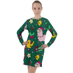 Funny Decoration Christmas Pattern Background Long Sleeve Hoodie Dress