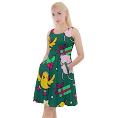 Funny Decoration Christmas Pattern Background Knee Length Skater Dress With Pockets