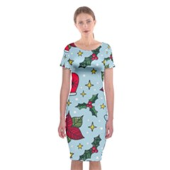 Colorful Funny Christmas Pattern Classic Short Sleeve Midi Dress
