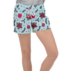 Colorful Funny Christmas Pattern Women s Velour Lounge Shorts