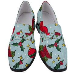 Colorful Funny Christmas Pattern Women s Chunky Heel Loafers