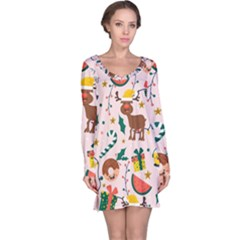 Colorful Funny Christmas Pattern Long Sleeve Nightdress