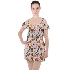 Colorful Funny Christmas Pattern Ruffle Cut Out Chiffon Playsuit