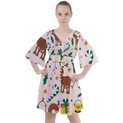 Colorful Funny Christmas Pattern Boho Button Up Dress