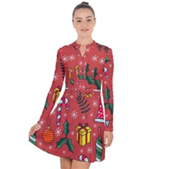 Colorful Funny Christmas Pattern Long Sleeve Panel Dress