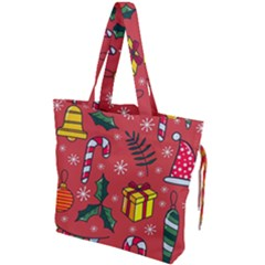 Colorful Funny Christmas Pattern Drawstring Tote Bag