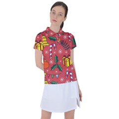 Colorful Funny Christmas Pattern Women s Polo Tee