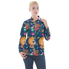 Funny Animal Christmas Pattern Women s Long Sleeve Pocket Shirt