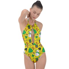 Funny Decoration Christmas Pattern Plunge Cut Halter Swimsuit by Vaneshart