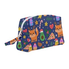 Colorful Funny Christmas Pattern Wristlet Pouch Bag (medium)