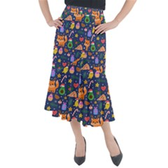 Colorful Funny Christmas Pattern Midi Mermaid Skirt