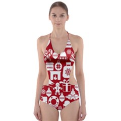 Christmas Seamless Pattern Icons Cut Out One Piece Swimsuit