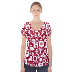 Christmas Seamless Pattern Icons Short Sleeve Front Detail Top by Vaneshart