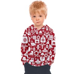 Christmas Seamless Pattern Icons Kids  Overhead Hoodie