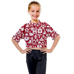 Christmas Seamless Pattern Icons Kids Mock Neck Tee