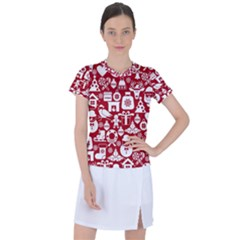 Christmas Seamless Pattern Icons Women s Sports Top