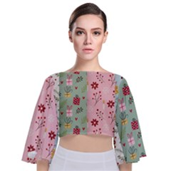Flat Christmas Pattern Collection Tie Back Butterfly Sleeve Chiffon Top by Vaneshart