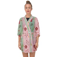 Flat Christmas Pattern Collection Half Sleeve Chiffon Kimono