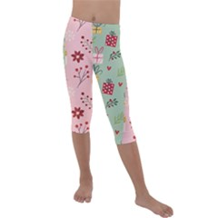Flat Christmas Pattern Collection Kids  Lightweight Velour Capri Leggings